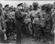 General Dwight D. Eisenhower talking to 101st Paratroopers before D-Day