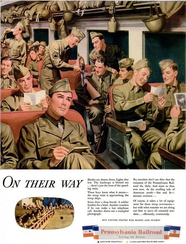 Troop Train Pennsylvania Railroad - WWII - Pennsylvania Railroad Troop Train Ad