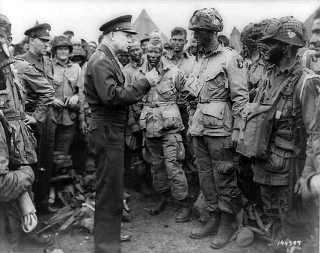 The evening of June 6 D-Day General Eisenhower speaks to members of the 101st Airborne Division