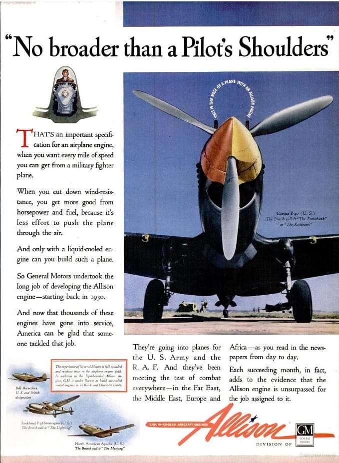 WWII Allison Engine Ad-Allison Engine Ad - Allison Airplane Engine