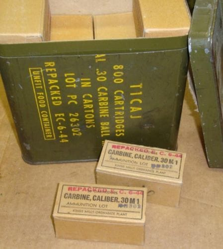 Original M1 Carbine Rounds in Ammo can
