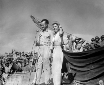 Francis Langford with Bob Hope WWII USO Tour