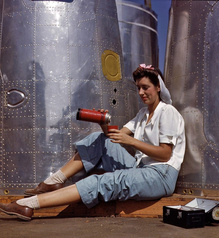 Rosie the Riveter Taking a Coffee Break