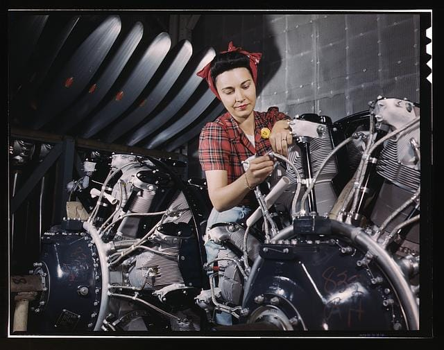 Woman working on radials