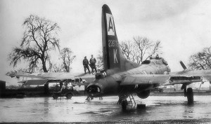 World War II Today: January 11 - A B-17G of the 94th Bomb Group, at Bury St. Edmunds,  England, shows damage sustained over Brunswick Germany,