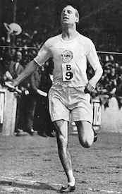 World War II Today: February 21 - Eric Liddell at the British Empire versus United States of America meet at Stamford Bridge, London, 19 July 1924