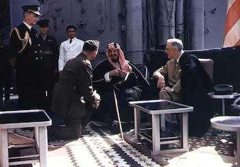 World War II Today: February 11 - Franklin Roosevelt and King Abdul-Aziz (Ibn Saud) of Saudi Arabia aboard USS Quincy, Great Bitter Lake, Egypt, 14 Feb 1945