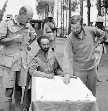 World War II Today: May 5 - Haile Selassie, Emperor of Abyssinia, with Brigadier Daniel Arthur Sandford (left) and Colonel Wingate (right) in Dambacha Fort, after it had been captured, 15 April 1941