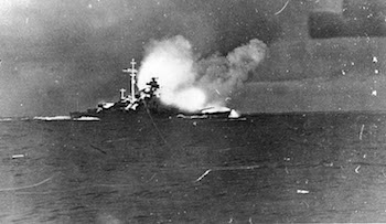 World War II Today: May 24 - Bismarck firing on Hood and Prince of Wales, Battle of Denmark Strait, 24 May 1941 (US Naval History and Heritage Command)