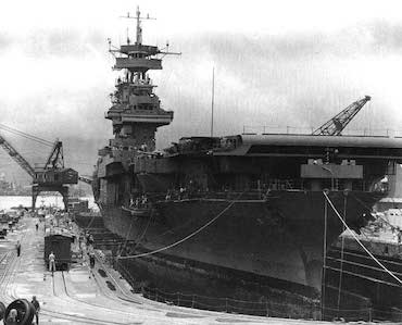 World War II Today: May 30 - Carrier USS Yorktown in Dry Dock #1, Pearl Harbor Navy Yard, 29 May 1942