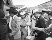 World War II Today: July 30 - Japanese-Americans returning to Sacramento, CA after being released from Rohwer Center internment camp in McGehee, Arkansas, 30 Jul 1945 (US Library of Congress)