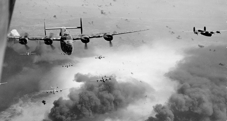 World War II Today: August 1 - Consolidated B-24 Liberators of the 15th AF fly over the target area, the Concordia Vega oil refinery, Ploesti, Romania,