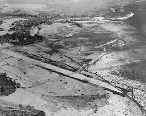 World War II Today: August 8 - Henderson Field, Guadalcanal, photographed from a USS Saratoga plane, late August 1942 (US Navy photo)