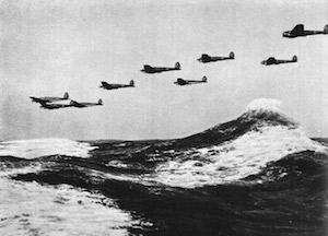 World War II Today: August 24 - German Heinkel He 111 bombers over the English Channel, 1940 (German Federal Archive, Bild 141-0678)