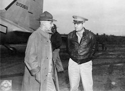 Gen. Joseph Stilwell and Maj. Gen. Curtis LeMay at an American airfield in China, 11 October 1944 (US Library of Congress)