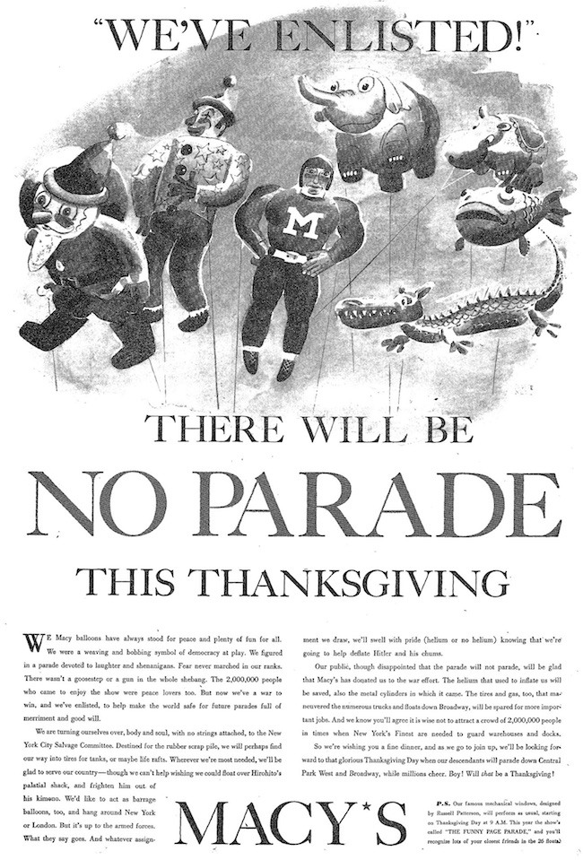 WE'VE ENLISTED Macy's Thanksgiving Parade WWII Ad