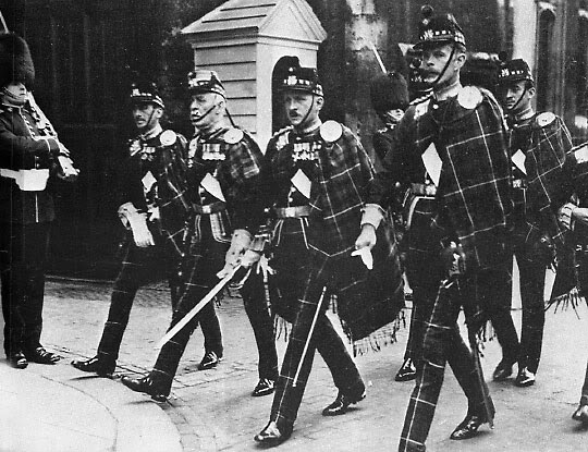 2nd Lt. David Niven (first from the right) in the Highland Light Infantry, wearing the unit's disdained trews