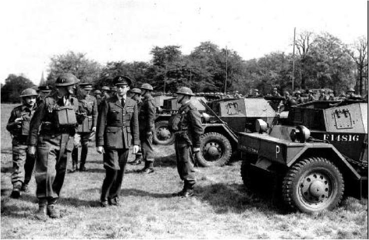The Duke of Kent, escorted by a helmeted David Niven, inspecting 'A' Squadron of Phantom
