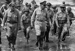 General MacArthur landing on Leyte on A-Day