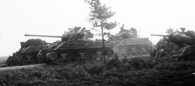 A Firefly, note the long barrel, with other Shermans during Operation Market Garden