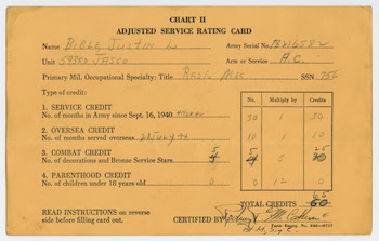 WW2 Points - Adjusted Service Rating Score (ASRS): An Adjusted Service Rating Card used to keep track of a soldier's credits
