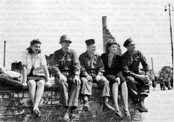 U.S. occupation force soldiers with local ladies in Germany
