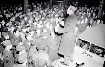 American soldiers protesting the slowdown in demobilization in front of the U.S. Embassy in Paris, January 1946