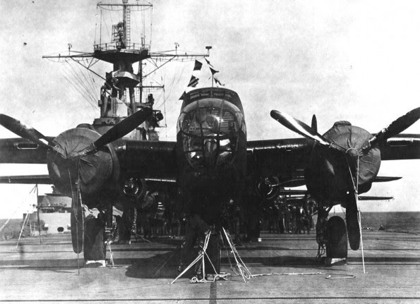 One of the Doolittle Raid B-25s onboard the USS Hornet.