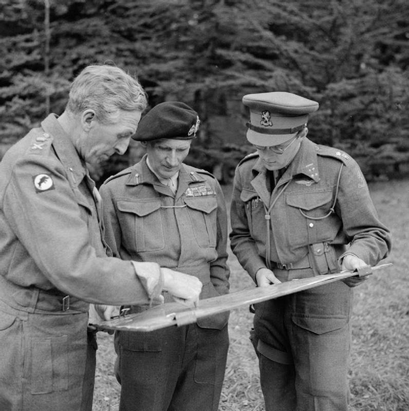 Lt. Gen. Brian Horrocks, the commander of XXX Corps (left) with Field Marshal Montgomery and Prince Bernard of the Netherland on September 8, 1944, 9 days before Operation Market Garden