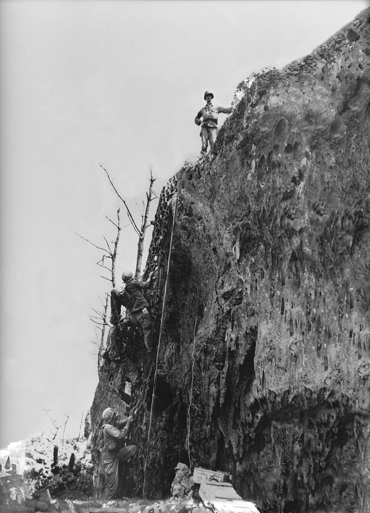 Doss on top of the Maeda Encarpment, also known as Hacksaw Ridge, on May 4, 1945