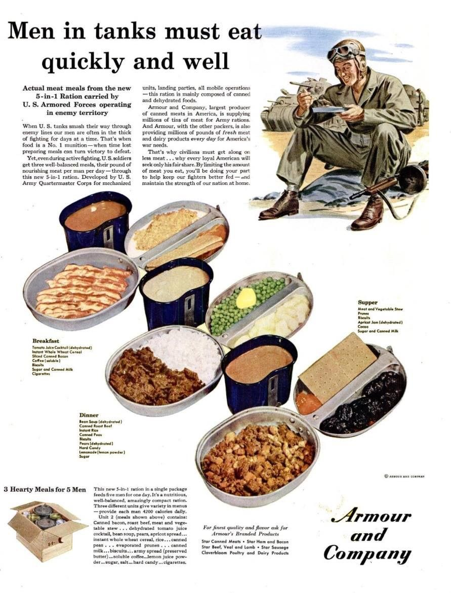 World War 2 Armor and Rations Ad: The 5-in-1 Ration
