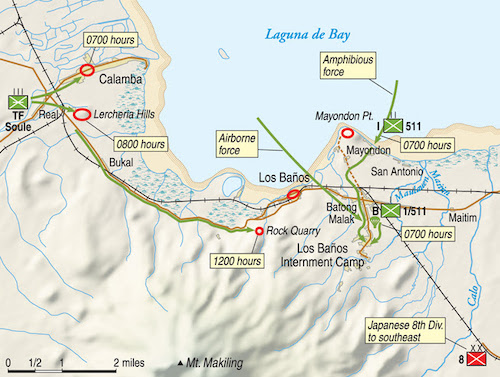 Map of the Los Baños Raid