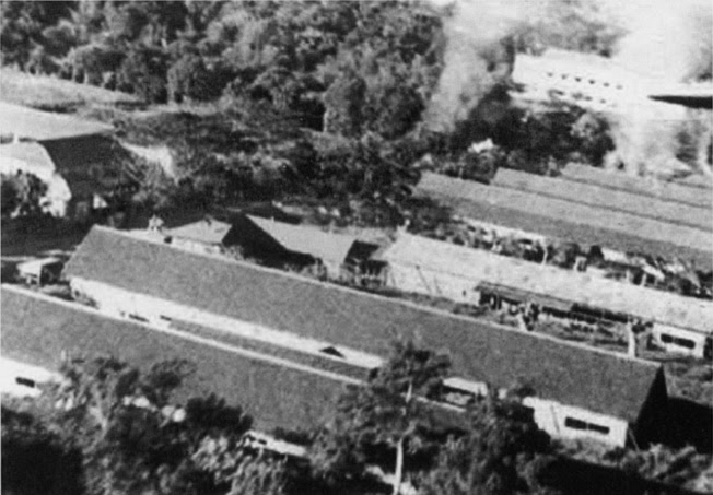 Los Banos Raid - Fire spreading through the Los Baños Internment Camp during the operation