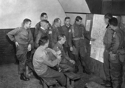 General Gavin briefing his staff before Operation Market Garden